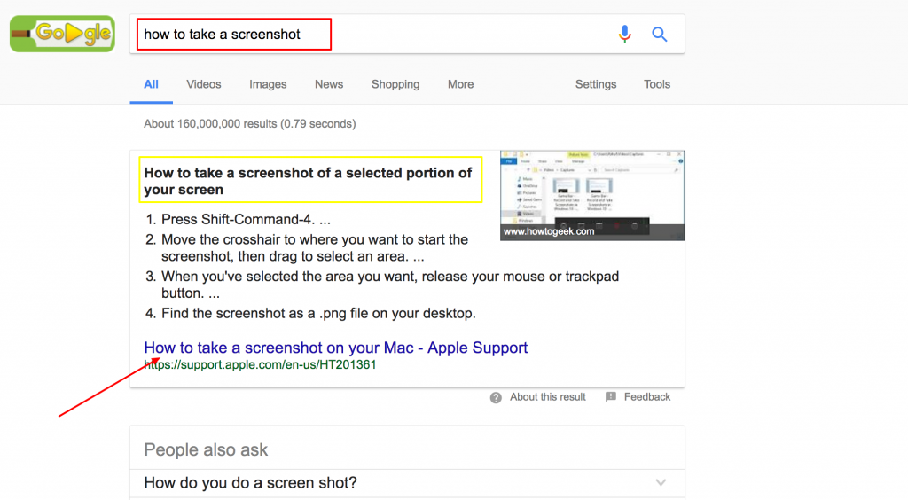 how to take a screenshot Google Search