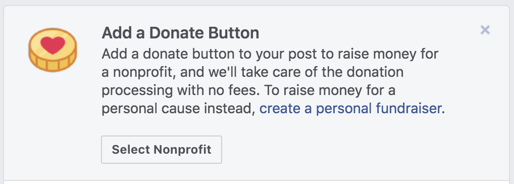 Add a Donate button to your Facebook page to raise money for a nonprofit organization